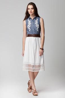 Белая летняя юбка из 100% хлопка Vilatte