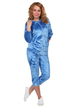 Синий велюровый костюм ElenaTex